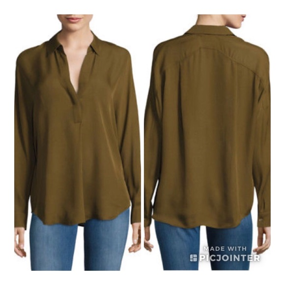 d374e42fb04a1b Vince Tops | Olive Green Half Placket Dolman Silk Top | Poshmark